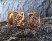 Golden Button Cufflinks with Beautiful Victorian Detail