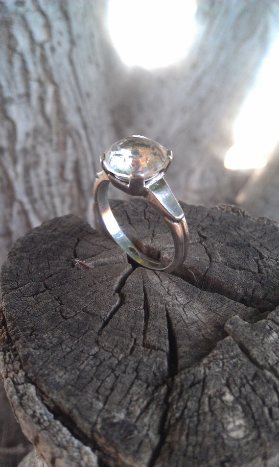 Art Deco Sterling Silver and Rhinestone Engagement Ring