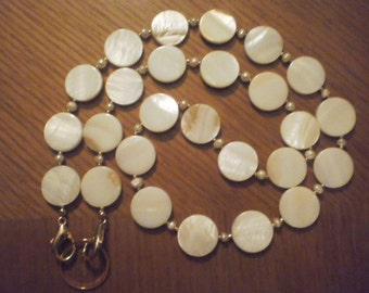 Winter White Shell Coin & Fresh Water Pearl Eyeglass Necklace Chain with Detachable Ring