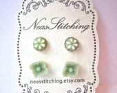 Earring set in sage green