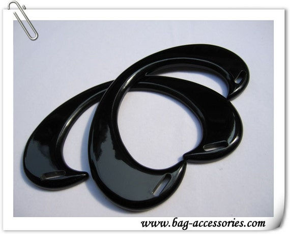 black acrylic handles, 7 inches wide