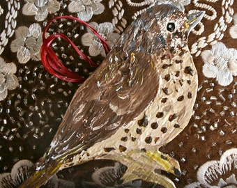 Wooden Mistle Thrush Decoration