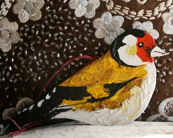Wooden Gold Finch  Decoration