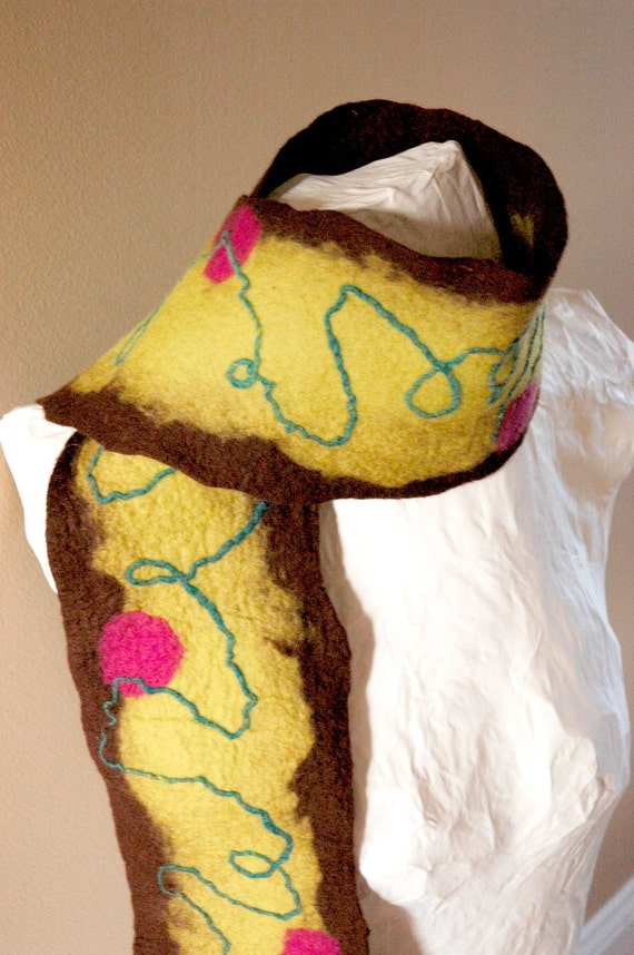 Whimsical Felt scarf yellow brown pink turquoise