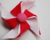 Bright Pink and White Felt Pinwheel Hair Clip with Pink Button Center
