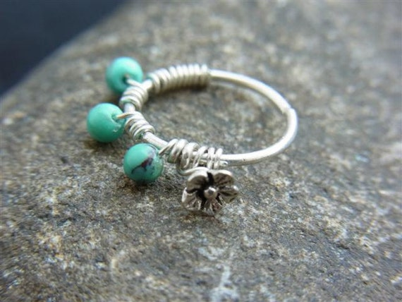 Oxidized silver flower wrapped with Tiny turquoise beads seamless hoop
