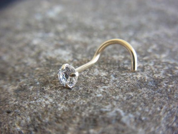 14k solid gold with CZ diamond claw setting nose screw