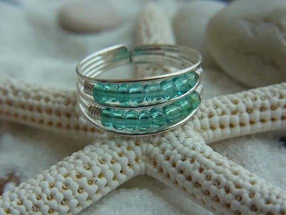 Double layers aqua glass beads Sterling silver toe ring