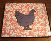 Vintage Stencil Art - Pair of Chickens