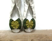 Multi shades of green suede bow shoe clips