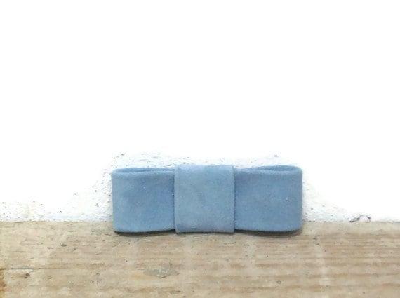 Heavenly blue suede bow shoe clips .OOAK