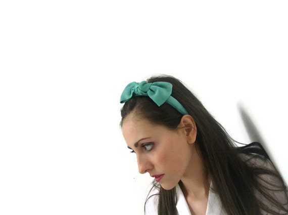 Mint green suede bow headband