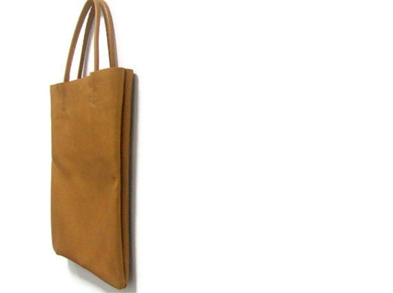 Camel Leather Tote Bag