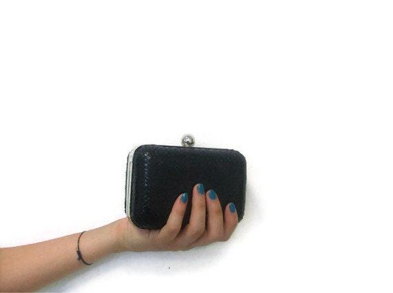 Black lizard clutch Made in Italy