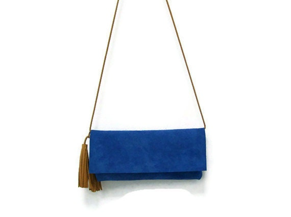 Blue, azure,sky-blue suede Bag Purse Clutch, with leather tassels