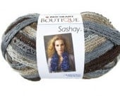 3 skeins RED HEART Boutique Sashay WALTZ a ruffle, frill and flounce fishnet mesh yarn in shades of Brown, gray, black, in stock now