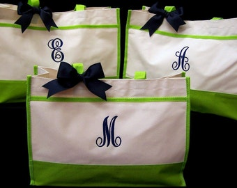 3 Personalized Tote Bag Bridesmaids Wedding Gift Bags