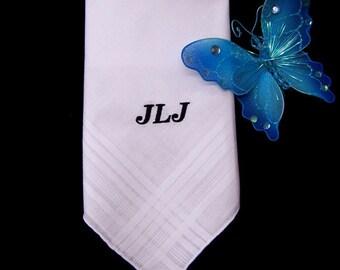 Monogrammed Handkerchief Men Wedding Groom Father