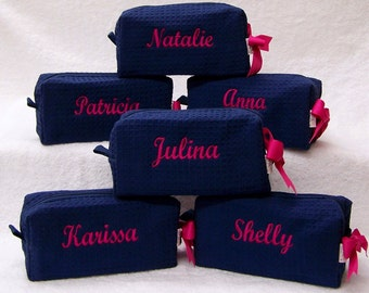 4 Personalized Small Waffle Weave SPA Cosmetic Bags Bridesmaids