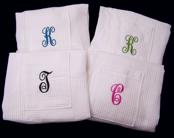 4 Waffle Weave Spa Bath Wraps Personalized Weddings Bridesmaids