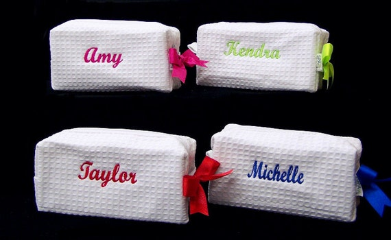 4 Personalized Small Waffle Weave SPA Cosmetic Bags Bridesmaid Gift
