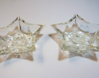 A Pair of 1960s STARS - Glass Candle Holders
