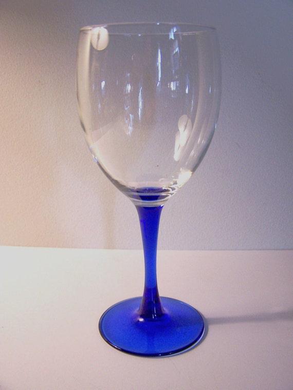 Single Wine Glass With Cobalt Blue Stem