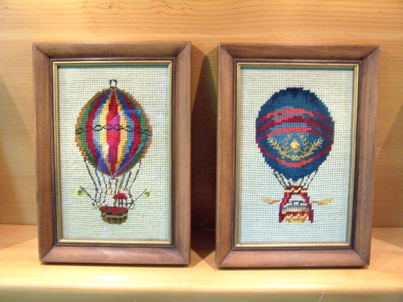 HOT AIR BALLOONS - Two Small Vintage Needlepoint Pictures - Framed in Hardwood  Frames Accented with Gold