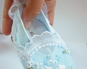 Marie Antoinette personalized shoes for your Baby Girl,  pastel blue turquoise, satin, embroidery, lace