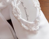 Cute white booties with pearls and bow , ballet shoes, christening, baptism, wedding shoes