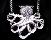 owl head octopus necklace------Antiqued Silver Steampunk