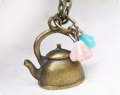 teapot necklace with Czech Glass flower