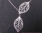 leaf necklace in silver finish----Lariat