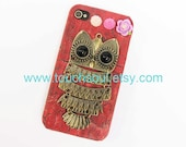 Owl ,flowers, Hard Case Cover for iPhone 4 Case, iPhone 4s Case, iPhone 4 Hard Case, iPhone Case