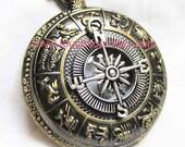 Zodiac compass Pocket Watch Necklace (Big Size)-----sale