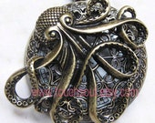 Steampunk octopus heart spider web pocket watch locket necklace - Pirates of the Caribbean Necklace---SALE