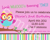 Owl Invitation Stripe