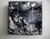 "PROMOTIONAL ITEM...Lost Country Abstract Black and White Palette Knife Painting 5"" x 5"""