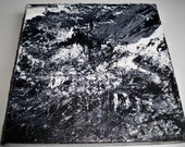 "PROMOTIONAL ITEM... Abstract Mountain Black and White Palette Knife Painting 10"" x 10"""