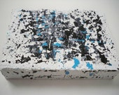 "PROMOTIONAL ITEM ...Metropolitan Abstract Black White Blue Contemporary Palette Knife 5"" x 7"" Painting"
