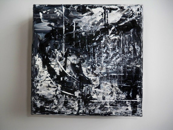 """PROMOTIONAL ITEM...Lost Country Abstract Black and White Palette Knife Painting 5"""" x 5"""""""