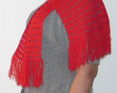 Crocheted red scarf