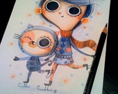 children illustration, nursery room wall deco, original art, drawing - Skating with a cat