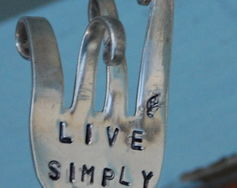 Live Simply hand stamped Twisted FORK garden art