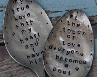 Set of 2 Hand Stamped Spoons Romantic Sayings for Wedding or Shower