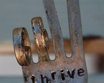 THRIVE hand stamped PEACE sign Fork Garden Art