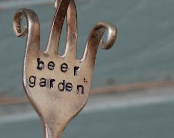 Beer Garden twisted Hand Stamped Fork garden art TWISTED