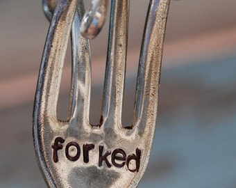FORKED hand stamped Fork Garden Art twisted Funny
