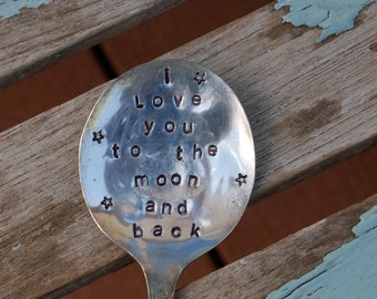 I love you to the moon and back Hand Stamped Spoon with STARS (great for house plants or flower pots)