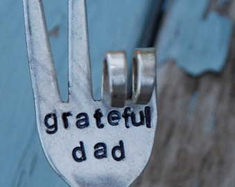 Grateful Dad hand stamped PEACE fork garden art (great for father's day)
